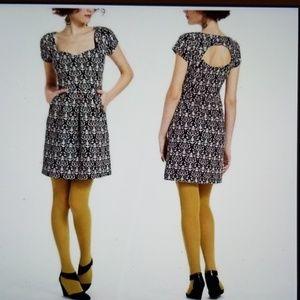 Anthropologie Deletta Black Print Dress Sz Large